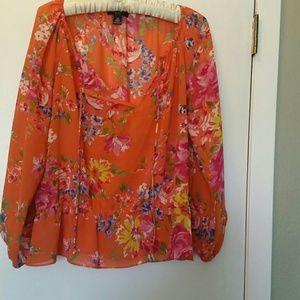 Boho Chaps top sz XS orange /floral